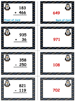 Penguin Plunge Game Cards (Add & Subtract within 1000) Sets 4-5-6