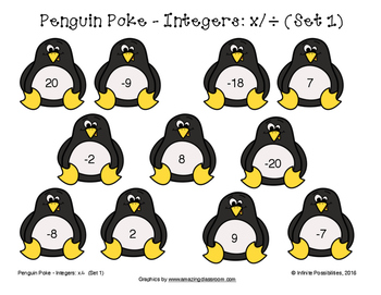 Multiplying and Dividing Integers Penguin Poke Game