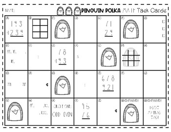 Penguin Polka Math Task Cards