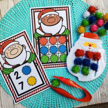 Santa Pom Pom Tweezing Task Cards Activity
