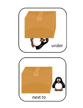 Penguin Preposition Flash Cards