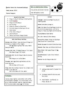 Penguin Preschool Week Lesson Plan Sample