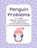 Penguin Problems: 2 and 3 digit addition and subtraction with regrouping