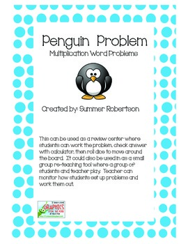 Penguin Problems Multiplication Word Problem Center