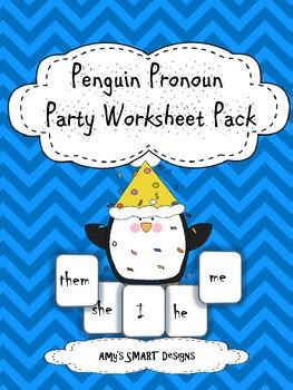 Penguin Pronoun Party Worksheet Pack