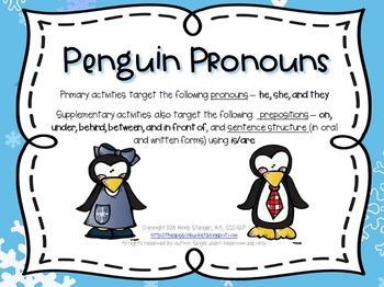 Penguin Pronouns – Winter Language Activities with a Penguin Theme