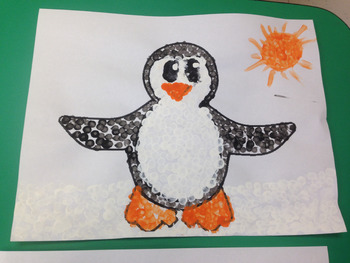 Penguin Q-Tip Art Activity Free Printable
