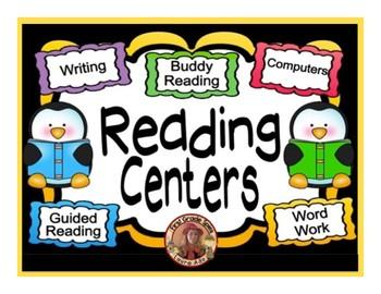 Reading Center Rotation Editable Powerpoint Penguin Themed