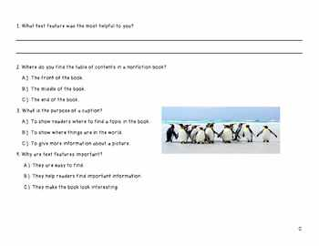 Penguin Research through Text Features - Worksheets for ALL Learning Levels