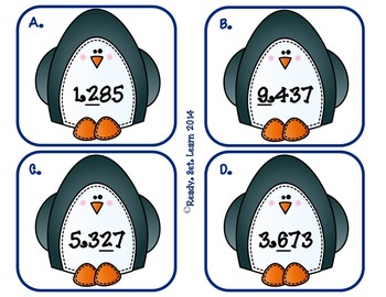 Penguin Rounding - SOL 3.1 Rounding to the nearest ten, hundred, and thousand
