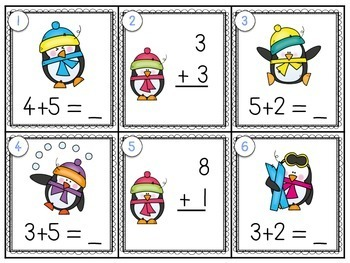 Penguin Scoot {addition to 10!}