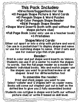 Penguin Shape Book & More!  Cards, Puzzles, Book & Printables!