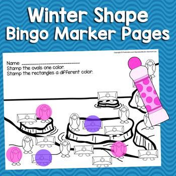 Winter Math Shapes Bingo Markers | Pre-K, K