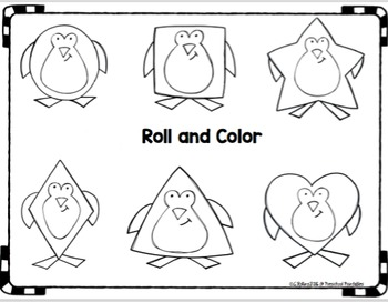 Penguin Shapes Roll and Color