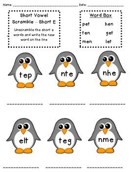 Penguin Short Vowel Scramble