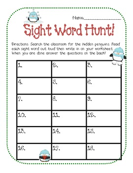 Penguin Sight Word Hunt