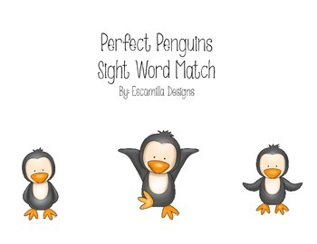Penguin Sight Word Match: Literacy Center & Worksheets