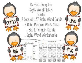 Penguin Sight Word Match: Literacy Center & Worksheets