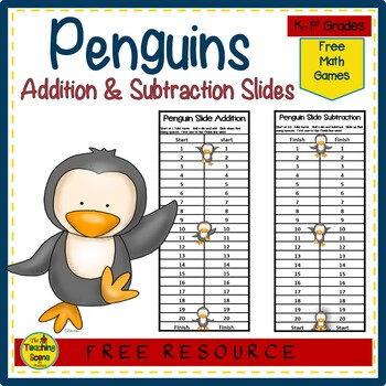 Penguin Slider Addition & Subtraction Center Game Freebie