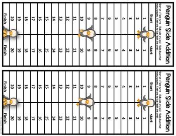Penguin Slider Addition & Subtraction Center Game {FREE}