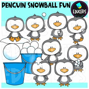 Penguin Snowball Fun Clip Art Bundle {Educlips Clipart}