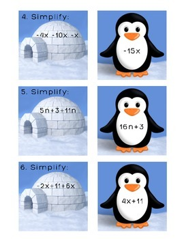 Penguin Sort - Simplify Algebraic Expressions Matching Activity / Task Cards