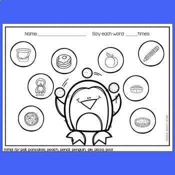 Winter Speech Therapy for Articulation Early Sounds - Penguin themed