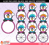 Penguin Spinners Winter Clip Art