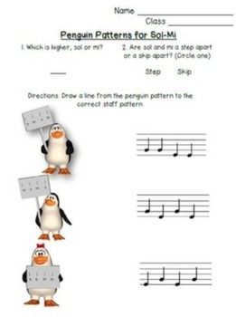 Penguin Stick-to-Staff Activities {Sol-Mi}