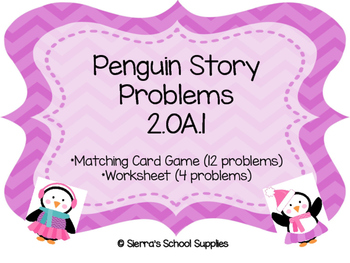 Penguin Story Problems Winter Math 2.OA.1