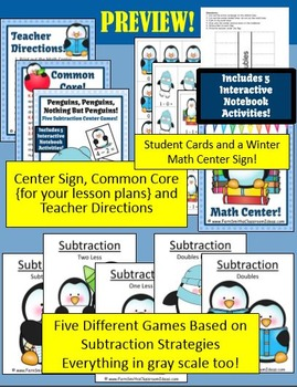 Penguins Quick and Easy to Prep Subtraction Centers and Printables