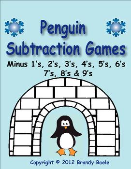Penguin Subtraction Games - facts minus 1's through minus 9's