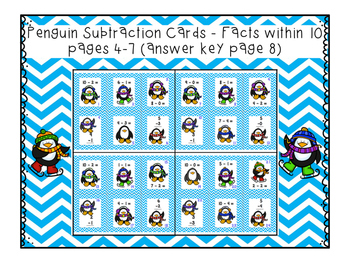 Penguin Subtraction Task Cards to 10 and 20