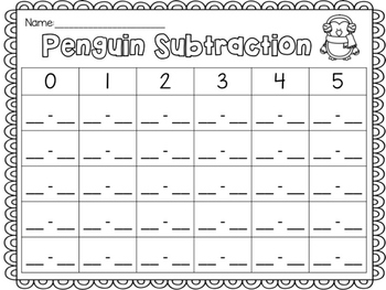 Penguin Subtraction (within 5)