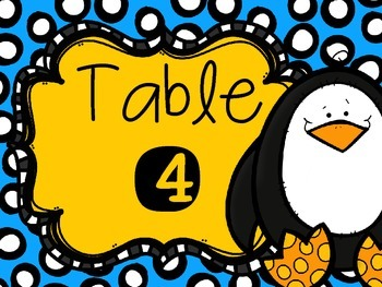 Penguin Table Numbers