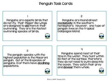 Penguin Task Cards: 3-in-1 Core Skills