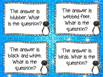Penguin Task Cards - Write the Question - Higher Order Thinking
