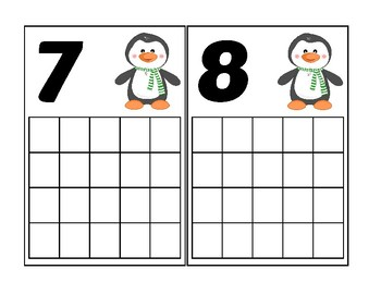 Penguin Ten Frame Activity (Numbers 1-20)