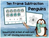 Penguin Ten Frame Subtraction Clip Cards