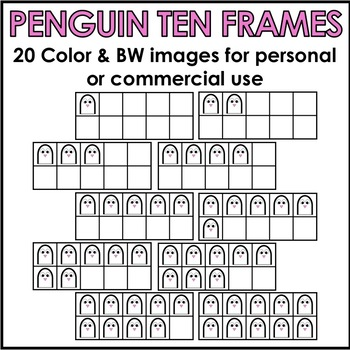 Penguin Ten Frames Clipart Personal or Commercial Use
