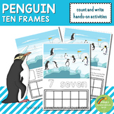 Penguin Ten Frames Count and Write Activities