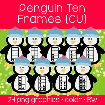 Penguin Ten Frames {Graphics for Commercial Use}