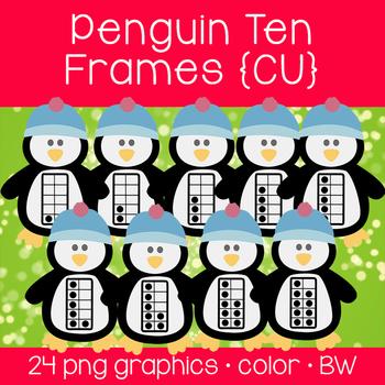 Penguin Ten Frames {Graphics for Commercial Use}
