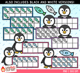 Penguin Ten Frames Winter Clip Art