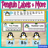 Penguin Theme Labels and More Classroom Decor
