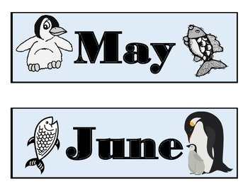 Penguin Calendar Set! Penguin Bulletin Board! Penguin Theme! Penguin Decor!