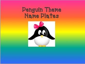 Penguin Theme Name Plates