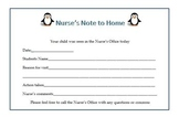 Penguin Theme Nurse Pass and Note Home