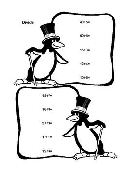 Penguin Theme Worksheets Math Review Grade 3- Addresses 5 CCSS