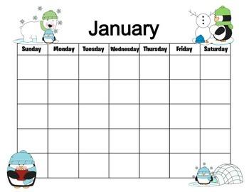 Penguin Themed 12 Month Calendar